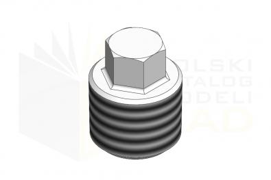 DIN 909_Korki gwintowane z łbem sześciokątnym 5.8 - IsometricView