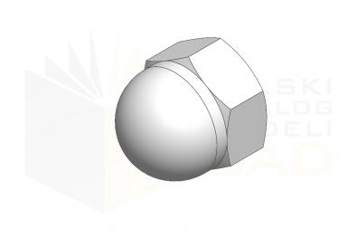 DIN 1587_Nakrętka kołpakowa wysoka - IsometricView