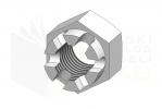 ISO 7035_Nakrętka sześciokątna koronowa - DimetricView