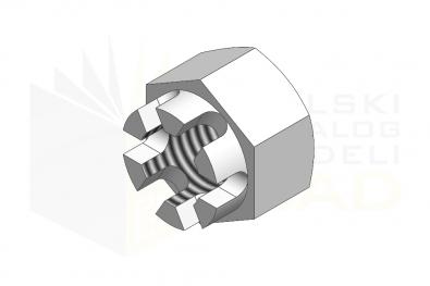 ISO 7035_Nakrętka sześciokątna koronowa - IsometricView