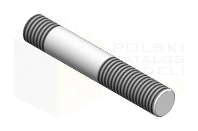DIN 938_Śruba dwustronna - 8.8 - IsometricView