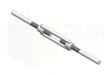 Śruba napinająca otwarta z końcówkami do spawania - IsometricView