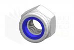 ISO 7040_Nakrętka samohamowna wysoka z wkładką poliamidową - DimetricView