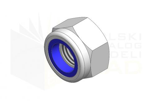 ISO 7040_Nakrętka samohamowna wysoka z wkładką poliamidową - IsometricView