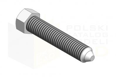 DIN 564_Śruba dociskowa z łbem sześciokątnym z czopem stożkowym - 8.8 - IsometricView