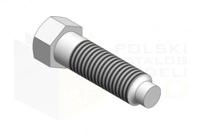 DIN 561_Śruba dociskowa z łbem sześciokątnym z czopem walcowym - 8.8 - IsometricView