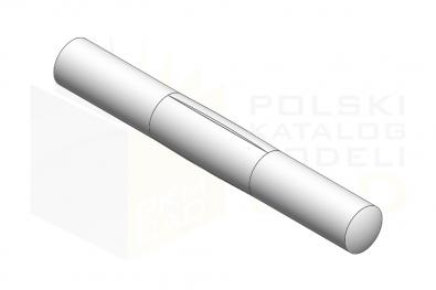 ISO 8742_Kołek z karbami w środkowej części na 1-3 długości - IsometricView