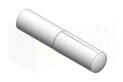 ISO 8741_Kołek z karbami na połowie długości zbieżnymi od czoła - IsometricView
