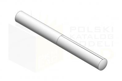 ISO 8745_Kołek z karbami zbieżnymi na połowie długości - IsometricView