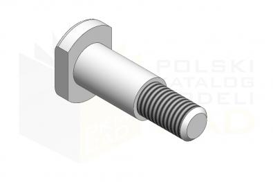 DIN 1445_Sworzeń z łbem walocowym i czopem gwintowanym - IsometricView